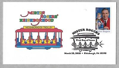 Mister Rogers Neighborhood Red Trolley. 2018 FDC.  Fred Rogers. First Day Cover.