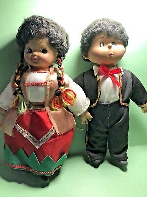 Mexican Dolls   All Fabric  Handmade In Mexico  1987