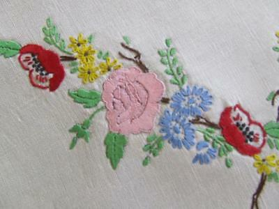 Stunning Hand Embroidered Vintage Centre - Arrangement of Colourful Flowers