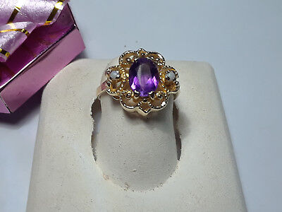 Estate 1.05cttw Natural Amethyst & Opal Scroll Top 14Kt Yellow Gold Ring #9445