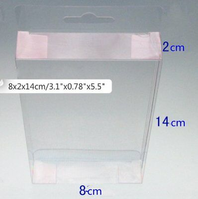 New 20 Favor Gift Plastic Box Boxes Hang Hole Top Wedding Clear PVC 8x2x14 cm