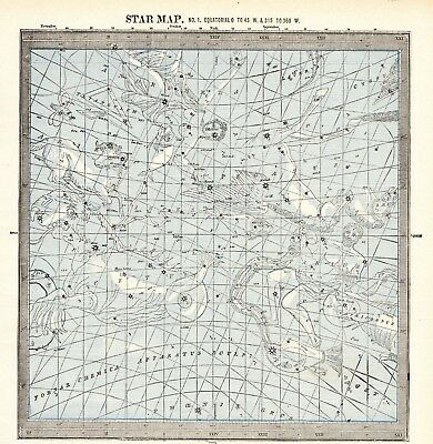 1895 Antique ASTRONOMY Print Star Constellation Map Chart Astrology Map 5924