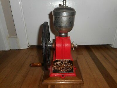 Vintage EARLY AMERICAN Cast Iron Hand Crank COFFEE PEPPER MILL w HOPPER