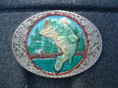 Large Mouth Bass Pewter Belt Buckle Made In Usa By Indiana Metal Craft 1982