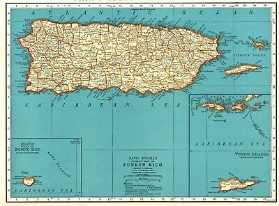 1937 Antique PUERTO RICO Map Vintage Map of Puerto Rico Gallery Wall Art #5935