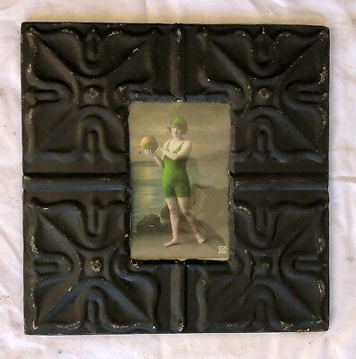 "Antique Ceiling Tin Picture Frame 4"" x 6""  Vintage Black Reclaimed Metal 566-18"