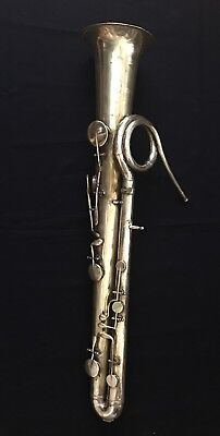 Rare 1800's Antique 9-key OPHICLEIDE Brass Instrument and case - As Is
