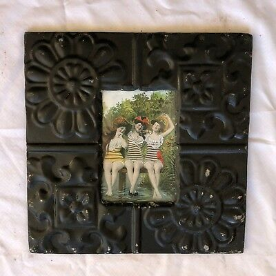 "Antique Ceiling Tin Picture Frame 4"" x 6""  Vintage Black Reclaimed Metal 560-18"