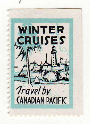 VINTAGE CANADIAN PACIFIC RAILWAY Stamp Decal WINTER CRUISES Canadian CPR CP