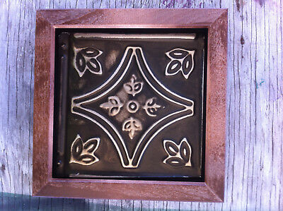 "Tin Ceiling Art Distressed Vintage Brown Silver Wood Frame 6""X6"" USA Made #702"