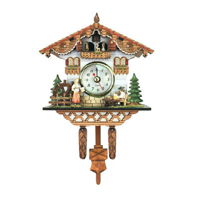 1pc Vintage Wooden Cuckoo Clock Forest Quartz Swing Wall Alarm Clock