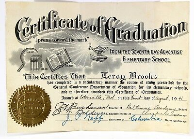 Catonsville, Maryland Graduation Certificate, Diploma, 1944 Adventist School