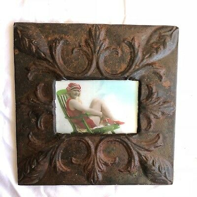 "1890's reclaimed antique ceiling tin picture frame 4"" x 6"" brown rust 564-18"