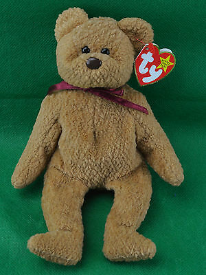 Curly TY Beanie Baby Tan Teddy Bear MWNMT Birthday April 12 1996 #4052 PVC 96 TT