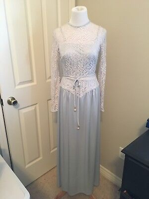 Vtg 60s 70s PERFECT Baby blue long Sleeve Maxi Lace Bridesmaid Prom GOWN XS 2 4