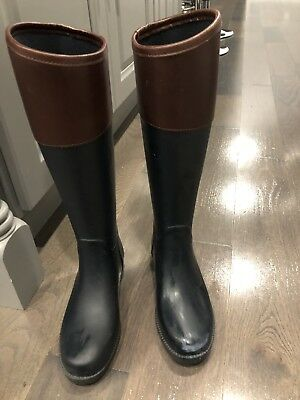 e74e565dc8c Tory Burch Women's Diana Black Leather trimmed Rain Boots Sz 6 B