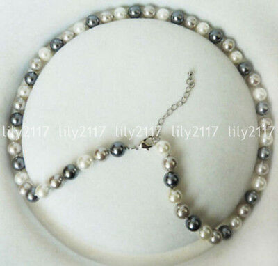 "Beautiful Natural 8mm white Silver gray Shell Pearl Round Beads Necklace 18"" AAA"
