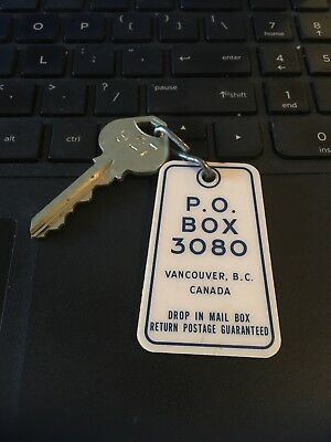 Vintage Hotel Motel Keychain w/Key: Unknown PO BOX 3080 Vancouver BC # 927