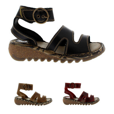 ae465e97546b Womens Fly London Tily Leather Ankle Strap Roman Open Toe Holiday Sandals  UK 3-9