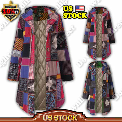 US Womens Ladies Boho Hooded Fleece Fur Lined Winter Warm Coat Outwear Jacket