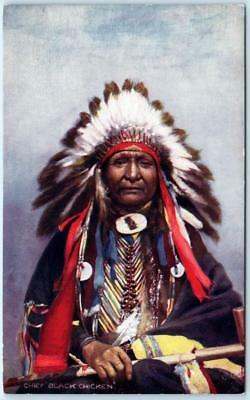 Native American CHIEF BLACK CHICKEN Dakota Sioux  c1910s  Tuck Indian Postcard