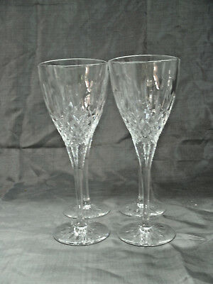 """Waterford FONTAINE 4-7 5/8"""" Wine Glasses Goblets Lead Crystal Criss Cross Cuts"""