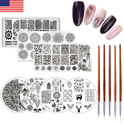 12pcs/set BORN PRETTY Christmas Rose Stamping Plates Acrylic UV Gel Liner Brush