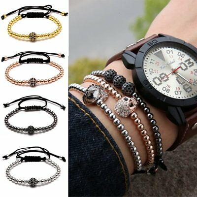 Mens Bracelet Evil Eye 4mm Beads Pulseras Papa Homber Braiding Macrame Gift Hot