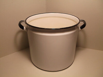 "Antique Vintage White Enamel Pot Farm Butcher Kitchen 8"" x 9"""