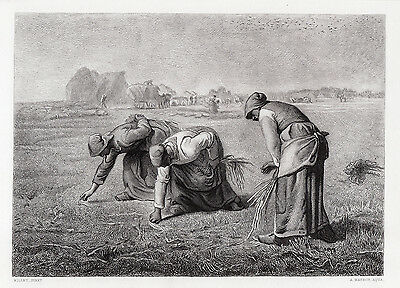 "Alluring Jean-Francois MILLET 1800s Engraving ""The Gleaners"" FRAMED Signed COA"