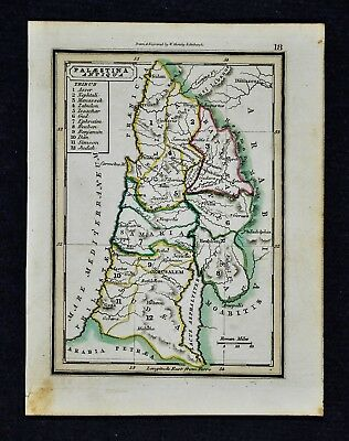 1832 Murphy Map Ancient Palestine 12 Tribes Israel Jerusalem Bethlehem Dead Sea