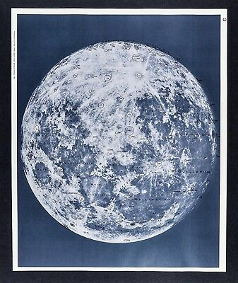 1960 Photographic Lunar Atlas Moon Photo No. 3 - Full Moon - Crater Field Map