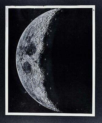 1960 Photographic Lunar Atlas Moon Photo No. 4 Crescent Moon Surface Craters Map