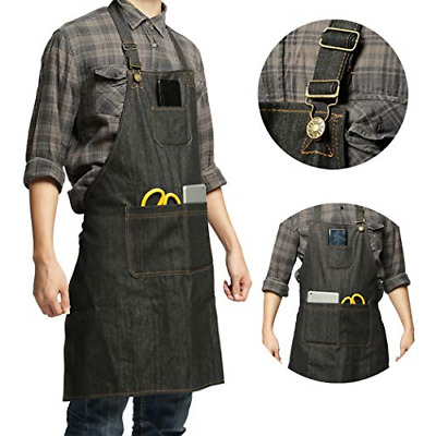 CZHEZEE Heavy Duty Denim Jean Tool Apron with Pockets Waterproof Waxed Canvas