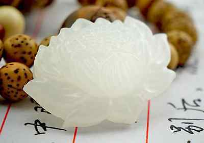 Beautiful Natural Chinese white jade hand carved lotus lucky pendant .