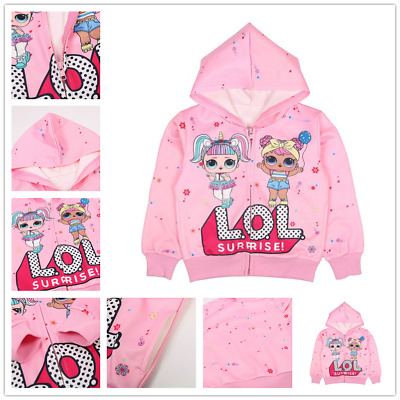 LOL Surprise Doll Girl Zip Hoodie Sweatshirt Tops Kids Pullover Casual Clothes