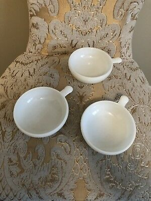 Vintage White Milk Glass Soup Bowls With Handles Set Of 3 Made In USA