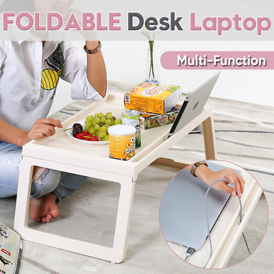 Portable Folding Laptop Desk Adjustable Computer Table Stand Tray Lap Bed White