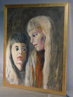 Vintage Modern Portrait Painting 2 Sisters Girls Haunting Hugo Zacchni Circus