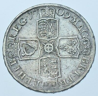 1709 Halfcrown, Plain Angles,  British Silver Coin From Anne Vf