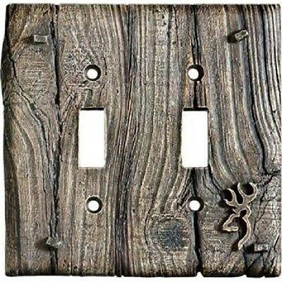 Browning Single Double Light Switch Cover, Faux Wood Cabin Buckmark Logo