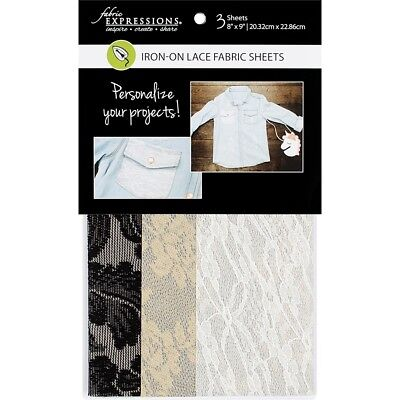 """Fabric Expressions Fusible Lace Sheets 8""""x9"""" 3/pkg-1 Each Of 3 Colors"""