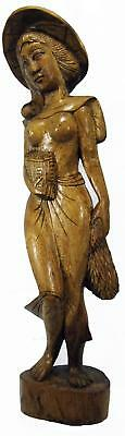 "Balinese Bali Woman Semi Nude Carved Wood Sculpture 70s Statue 56 cm 22"" Tall"
