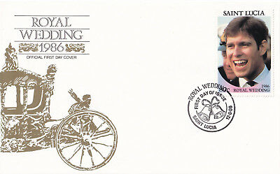 (21358) St Lucia FDC Prince Andrew Fergie Royal Wedding 12 August 1986