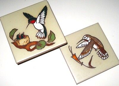 Lot of 2 Vintage Cleo Teissedre Handcrafted HUMMING BIRD Motif Art Tiles Trivets