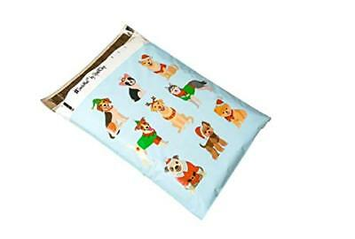 25 10x13 Blue Festive Pups Christmas #SmileMail Poly Mailers Shipping Envelopes