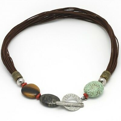 Silpada Multi-Cord Necklace N1891 Sterling Brass Tigers Eye Howlite Pyrite Coral