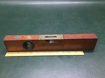 """Vintage Stanley Tools Wood and Brass No.104 Level 14"""" SW Sweetheart w/ Decal"""