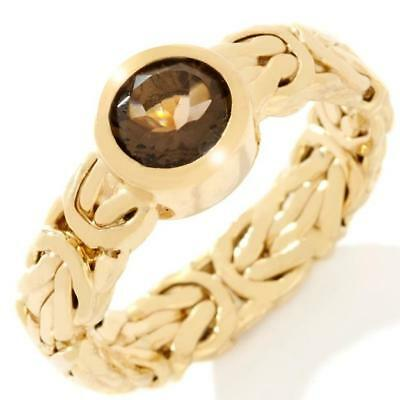 Technibond Smoky Quartz Byzantine Band Ring 14K Yellow Gold Clad Silver HSN