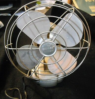 Vintage 1950's Western Auto Supply WIZARD HUSKY ELECTRIC DESK FAN-Works excellnt
